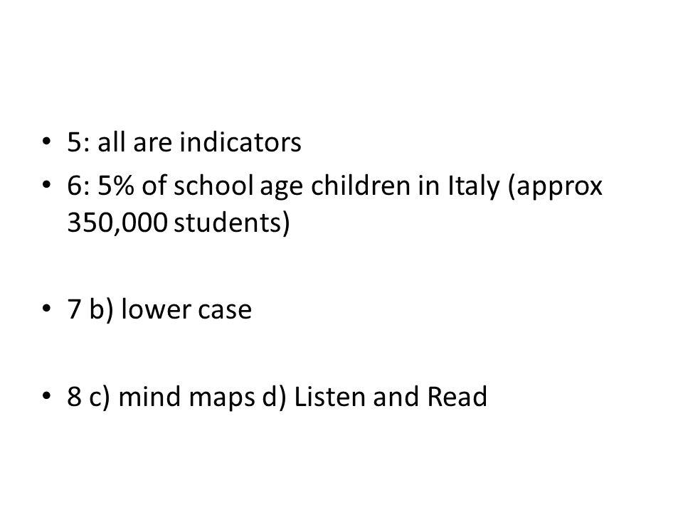 6: 5% of school age children in Italy (approx 350,000 students)