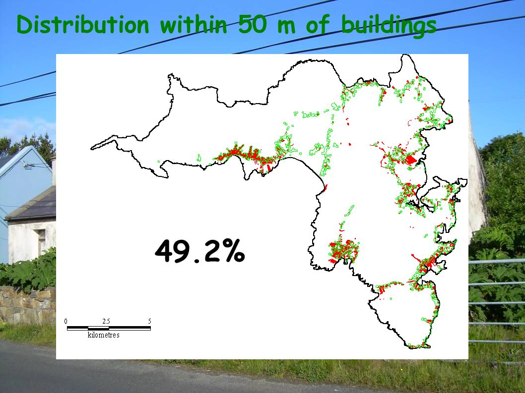 Distribution within 50 m of buildings