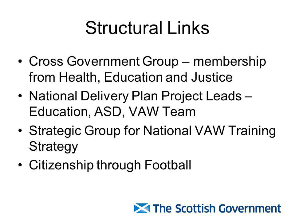 Structural Links Cross Government Group – membership from Health, Education and Justice.