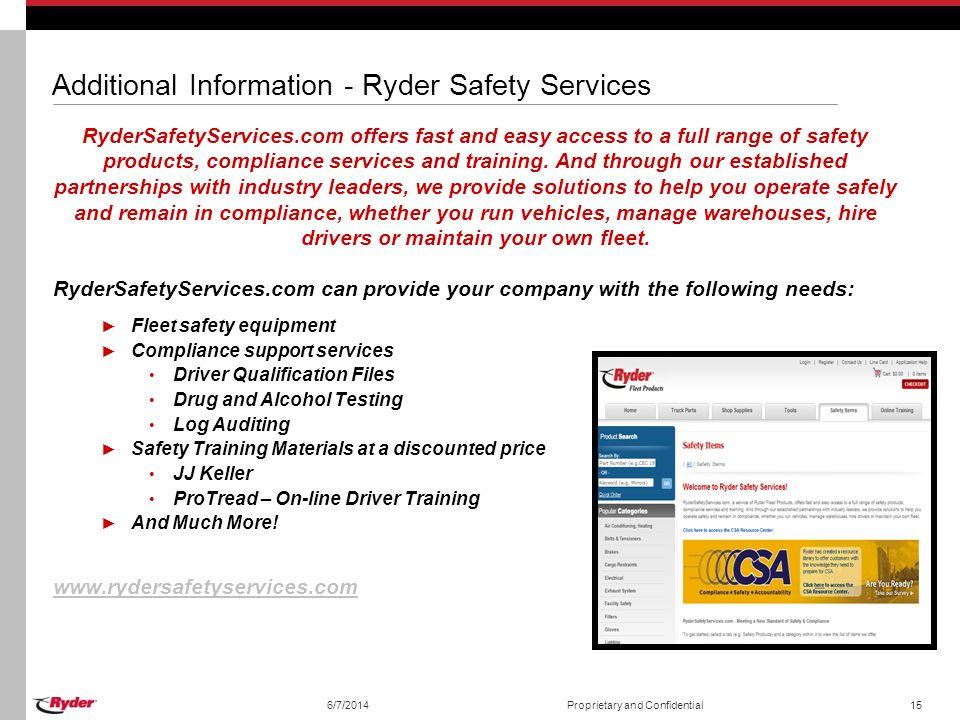 Additional Information - Ryder Safety Services