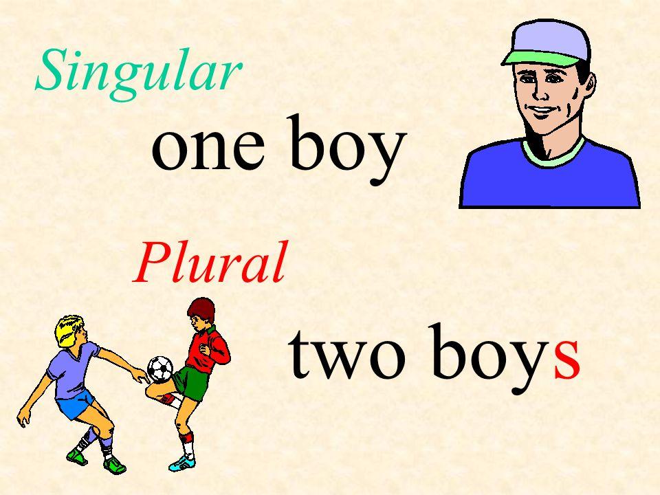 Singular one boy Plural two boy s