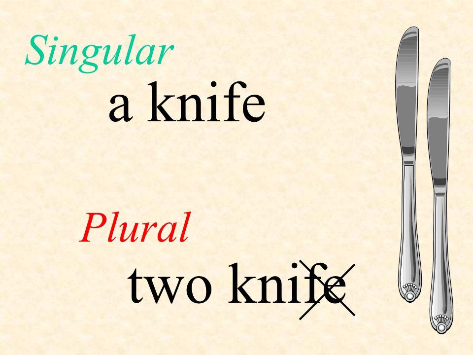 Singular a knife Plural two knife
