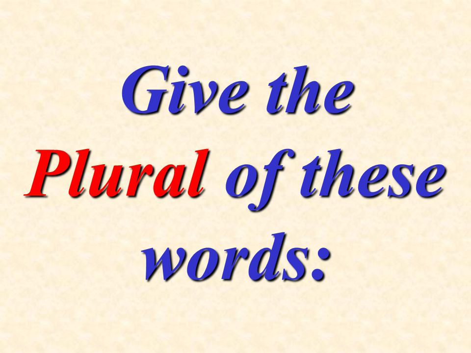 Give the Plural of these words:
