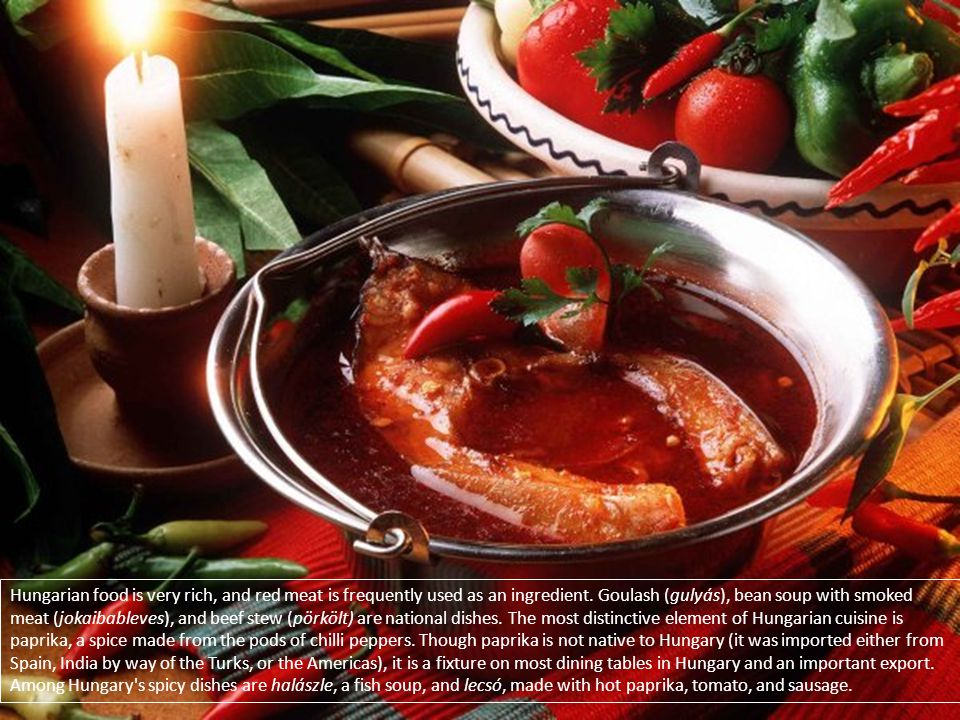 Hungarian food is very rich, and red meat is frequently used as an ingredient. Goulash (gulyás), bean soup with smoked meat (jokaibableves), and beef stew (pörkölt) are national dishes. The most distinctive element of Hungarian cuisine is paprika, a spice made from the pods of chilli peppers. Though paprika is not native to Hungary (it was imported either from Spain, India by way of the Turks, or the Americas), it is a fixture on most dining tables in Hungary and an important export.
