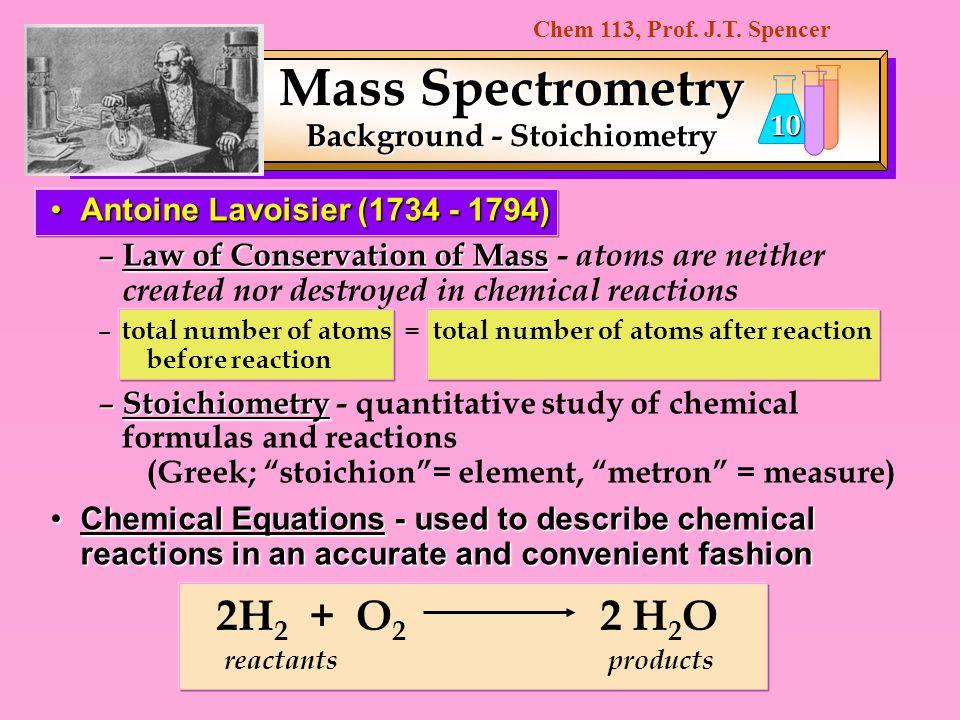 Mass Spectrometry Background - Stoichiometry