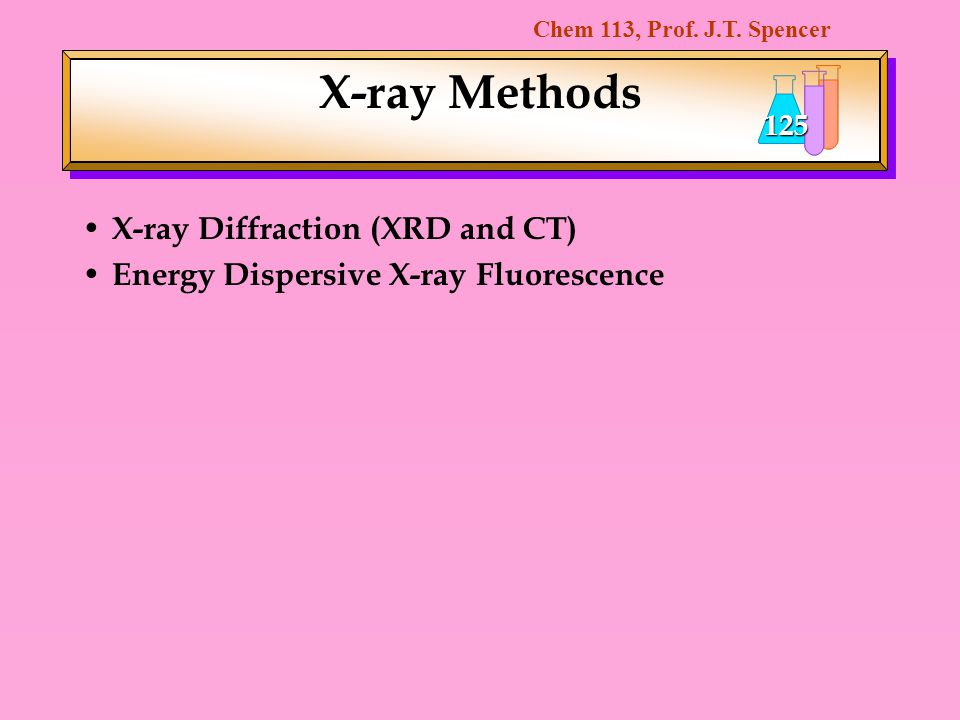 X-ray Methods X-ray Diffraction (XRD and CT)