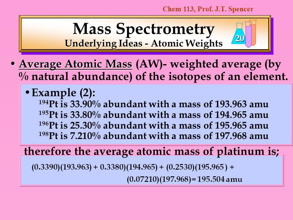 Underlying Ideas - Atomic Weights