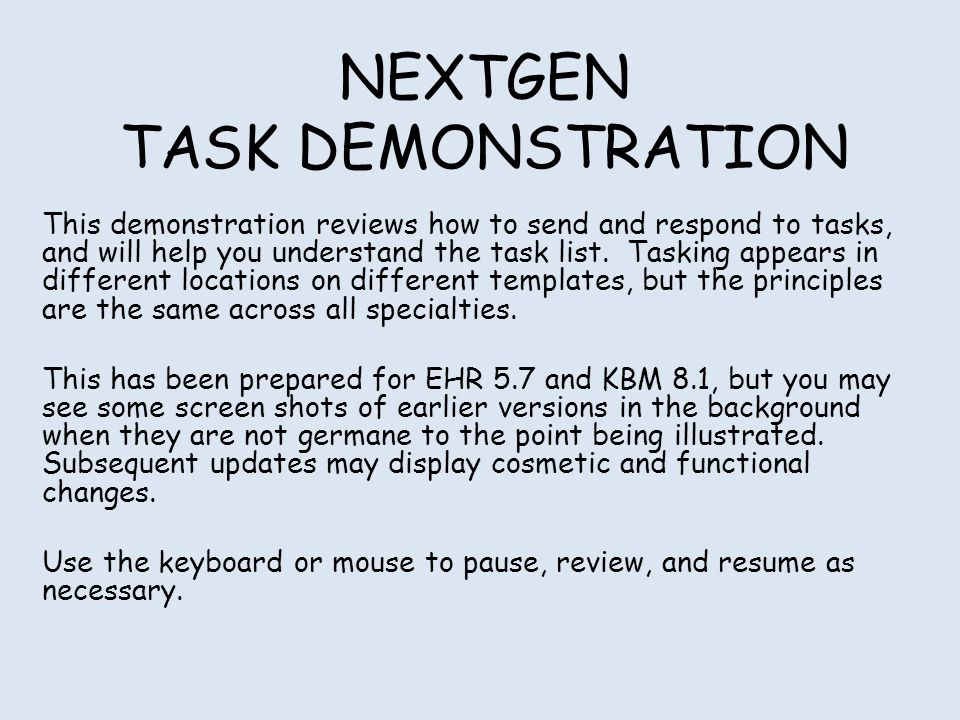 NEXTGEN TASK DEMONSTRATION