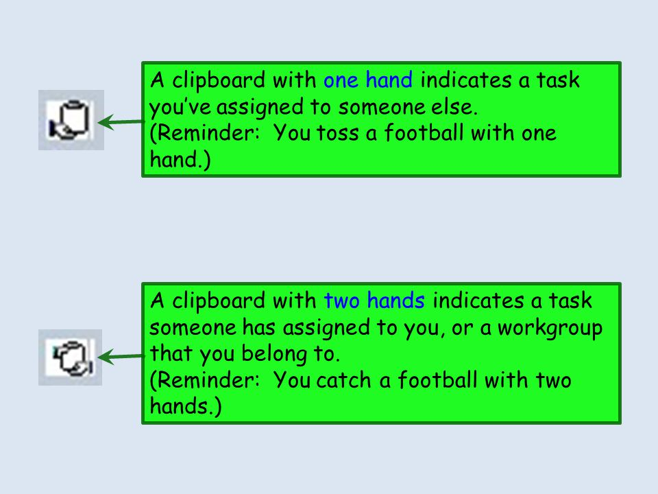A clipboard with one hand indicates a task you've assigned to someone else.