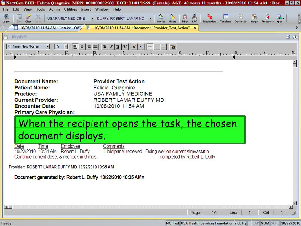 When the recipient opens the task, the chosen document displays.