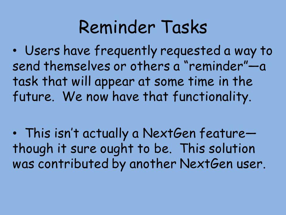 Reminder Tasks