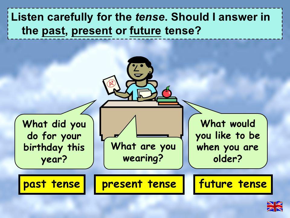 past tense present tense future tense