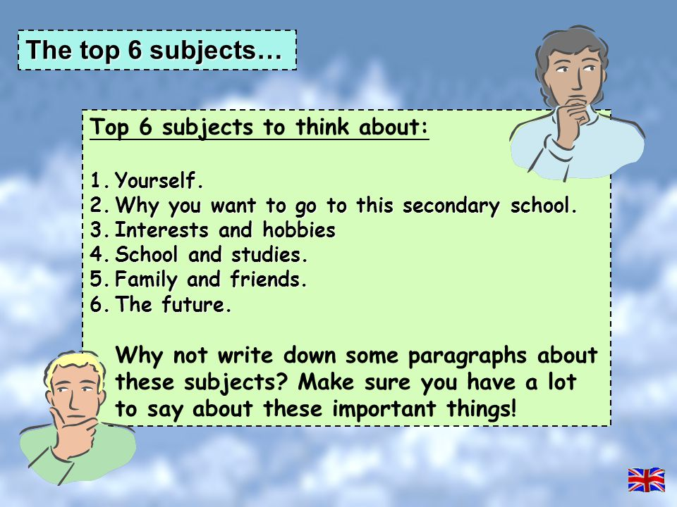 The top 6 subjects… Top 6 subjects to think about: