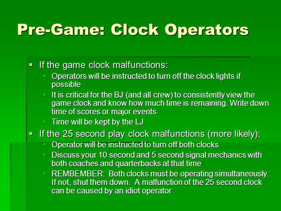 Pre-Game: Clock Operators