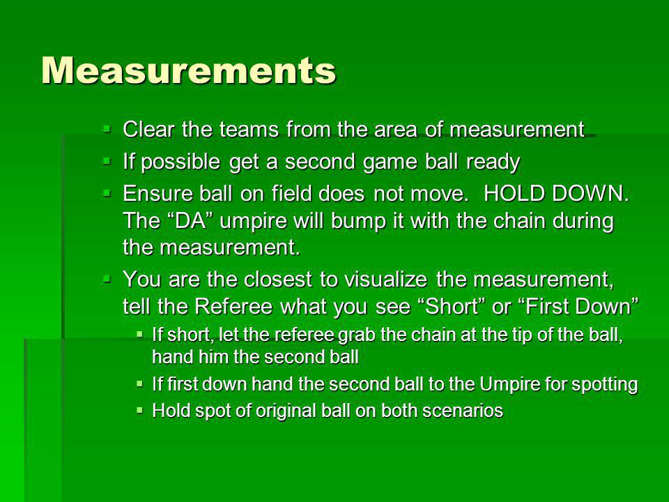 Measurements Clear the teams from the area of measurement