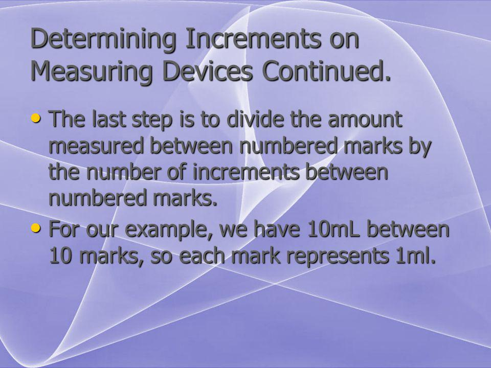 Determining Increments on Measuring Devices Continued.