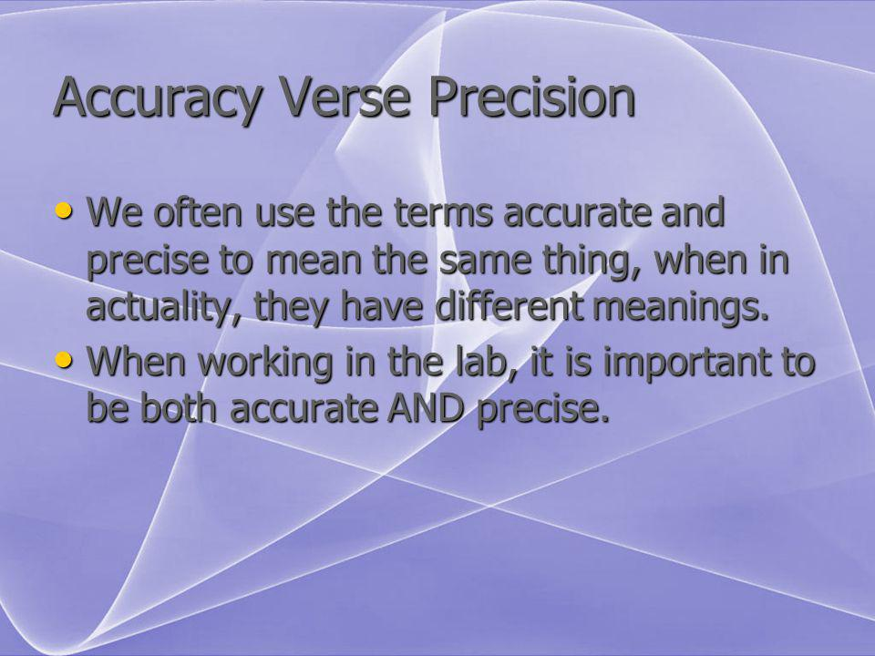 Accuracy Verse Precision