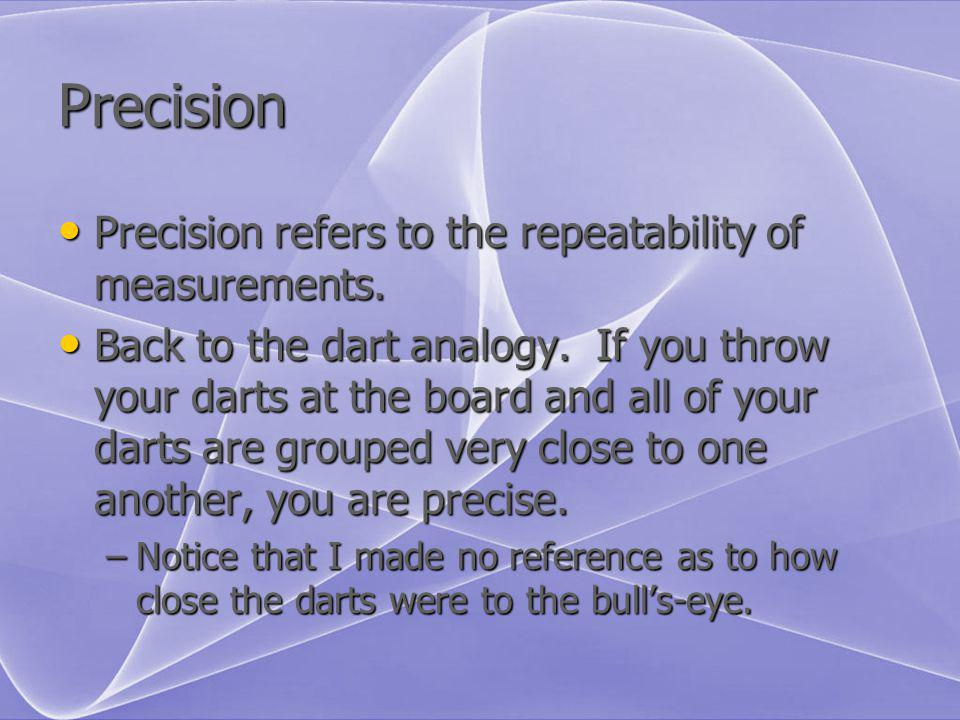 Precision Precision refers to the repeatability of measurements.