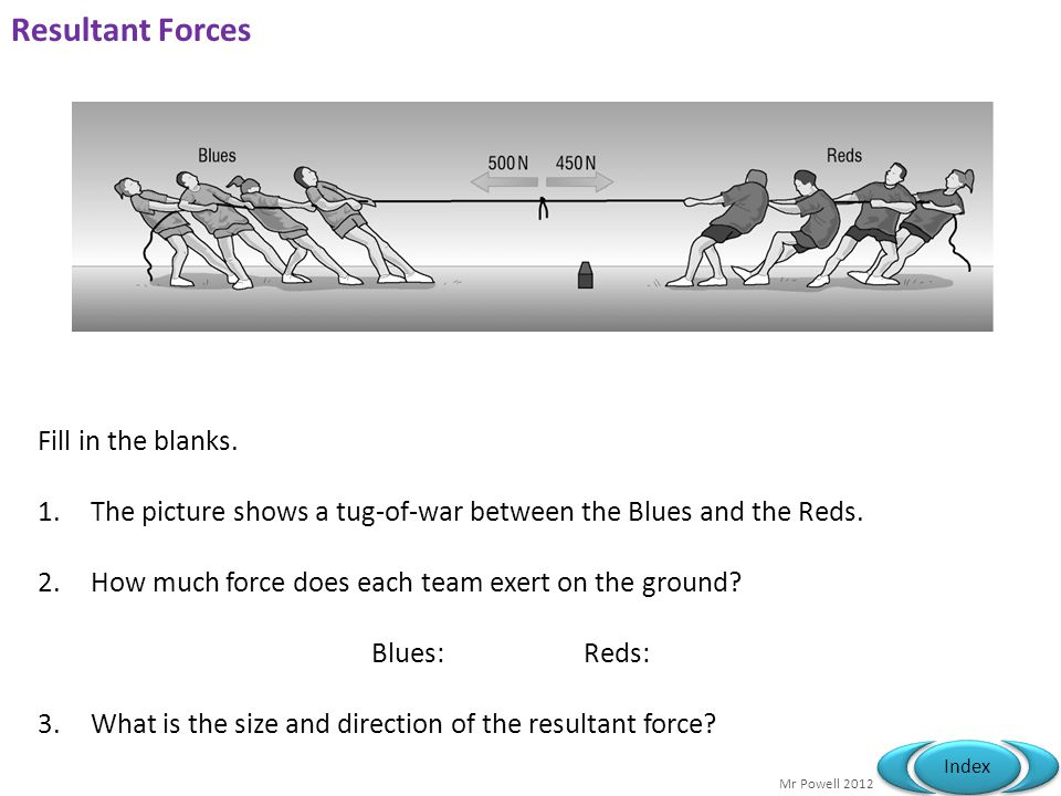 Resultant Forces Fill in the blanks.