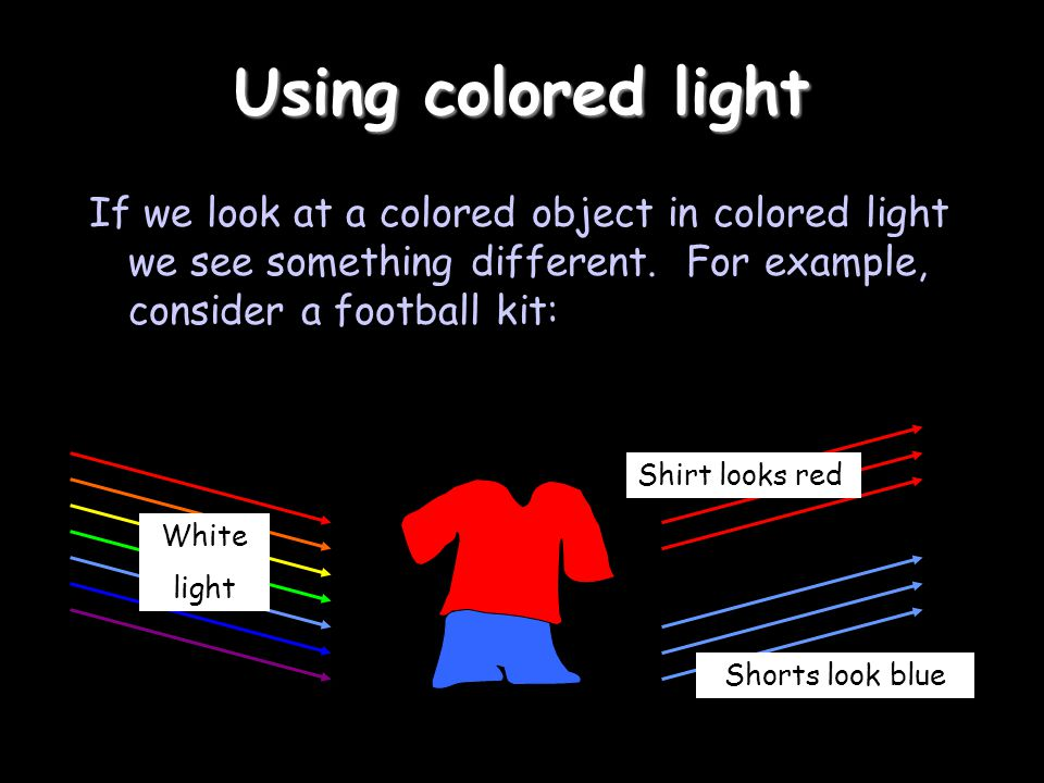 Using colored light If we look at a colored object in colored light we see something different. For example, consider a football kit: