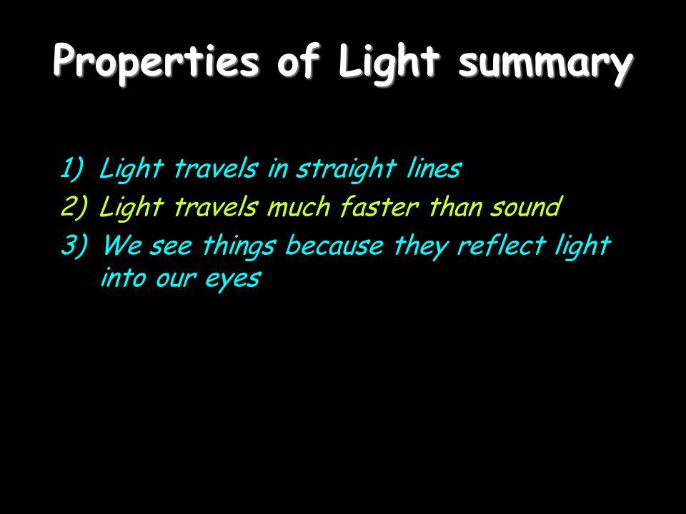 Properties of Light summary