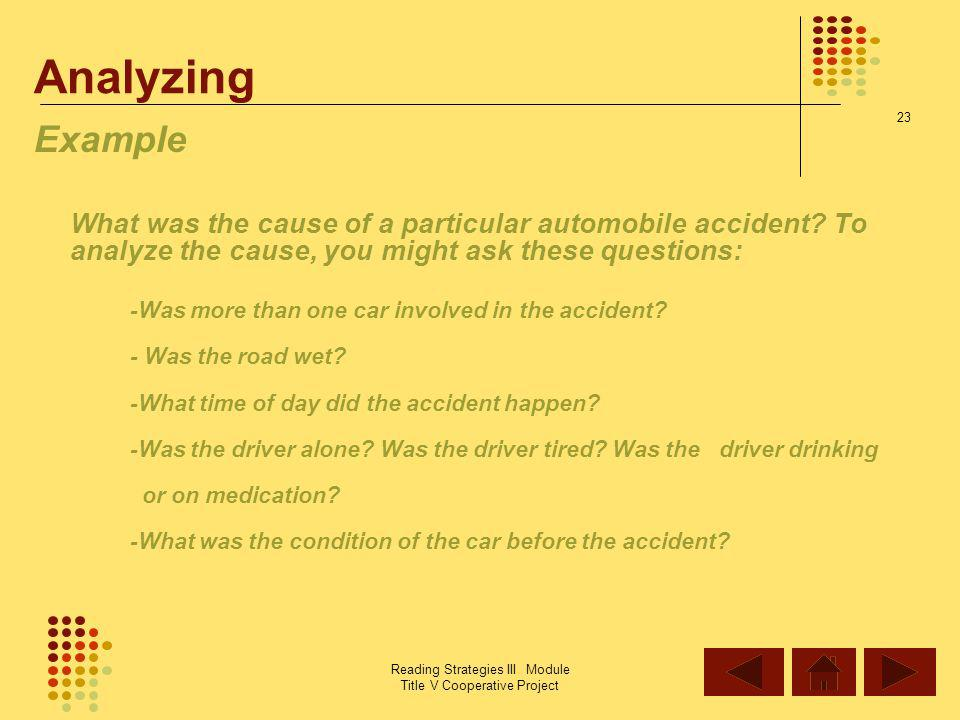 Analyzing Example -Was more than one car involved in the accident