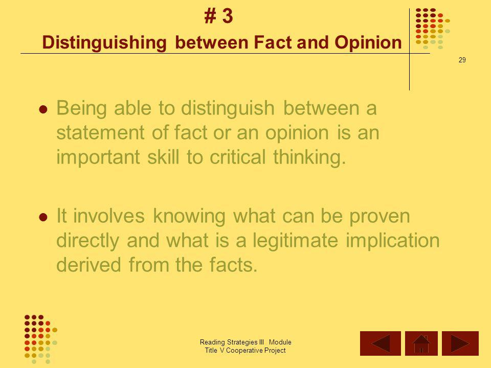 # 3 Distinguishing between Fact and Opinion