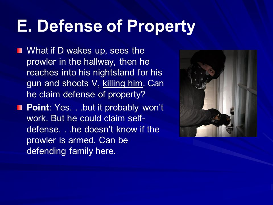 E. Defense of Property