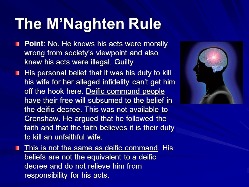 The M'Naghten Rule Point: No. He knows his acts were morally wrong from society's viewpoint and also knew his acts were illegal. Guilty.