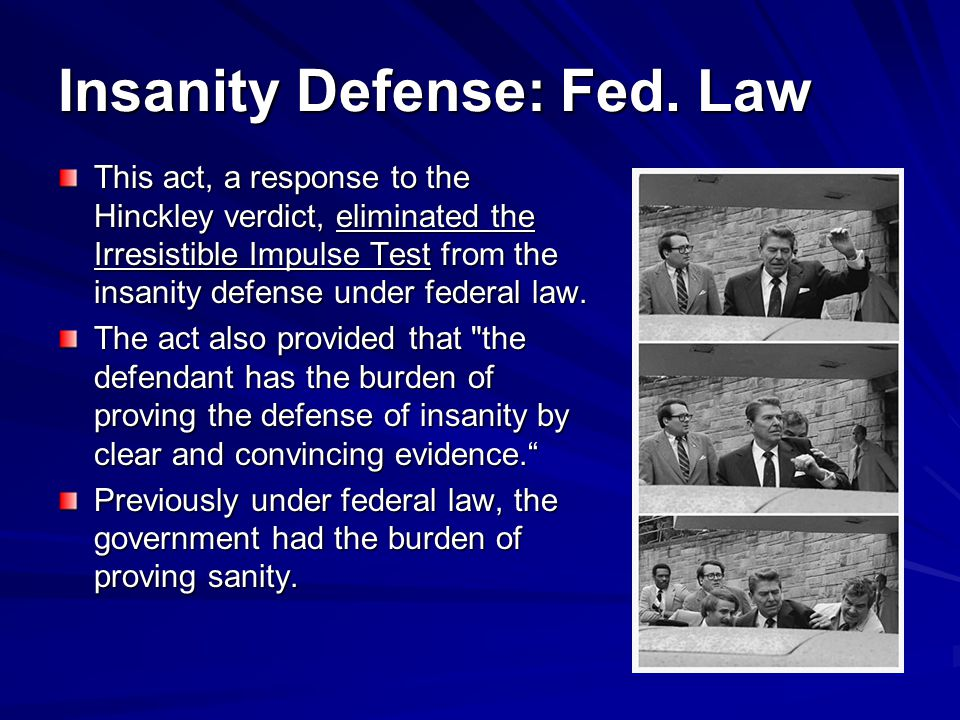 Insanity Defense: Fed. Law