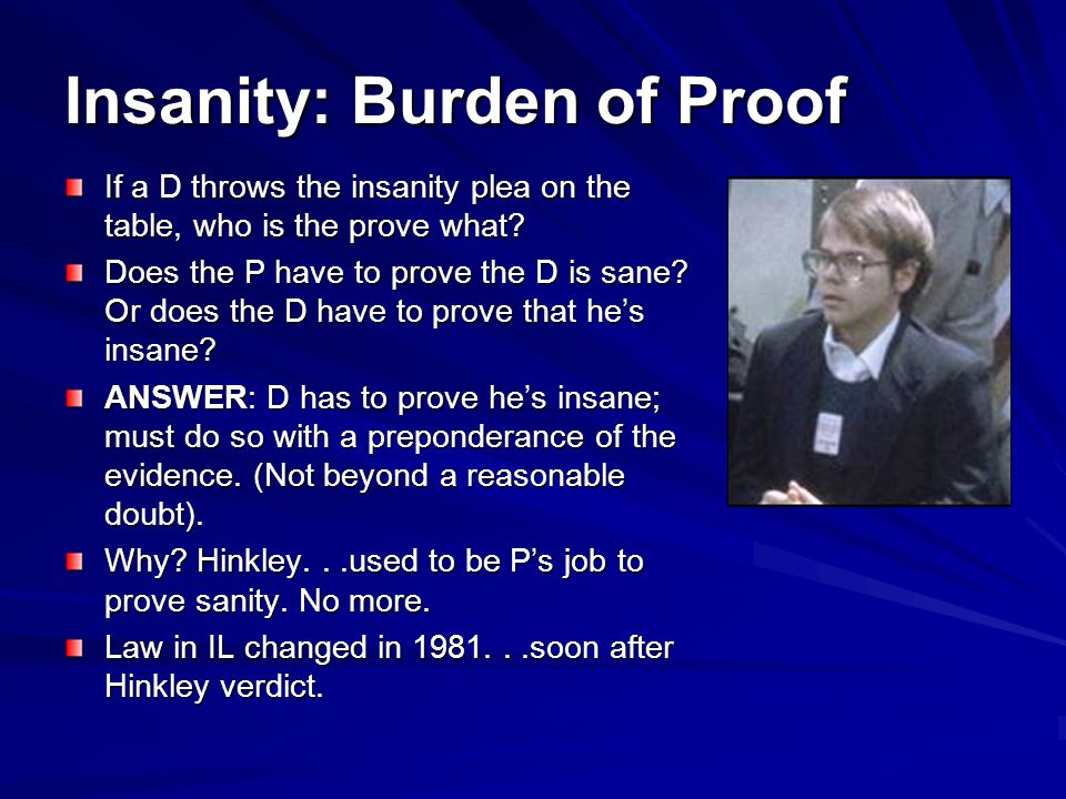 Insanity: Burden of Proof