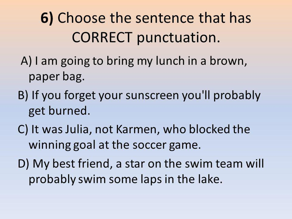 6) Choose the sentence that has CORRECT punctuation.