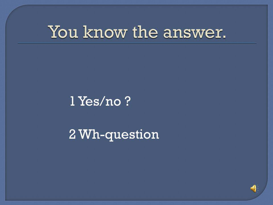 You know the answer. 1 Yes/no 2 Wh-question
