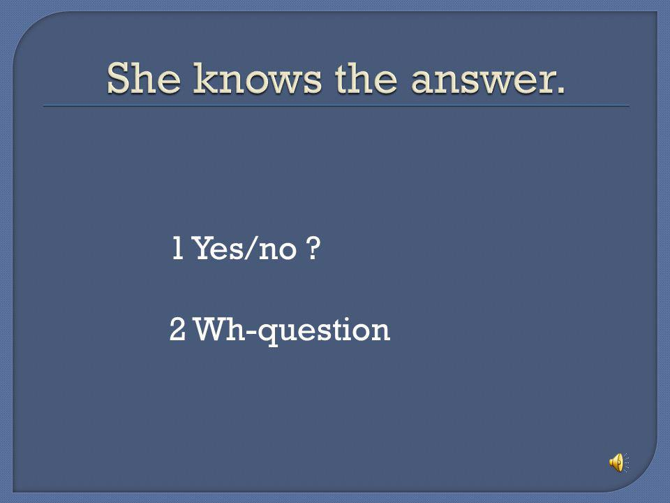 She knows the answer. 1 Yes/no 2 Wh-question