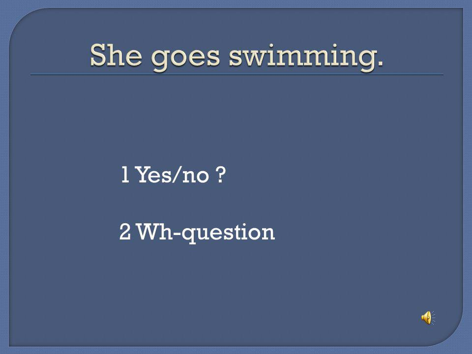 She goes swimming. 1 Yes/no 2 Wh-question