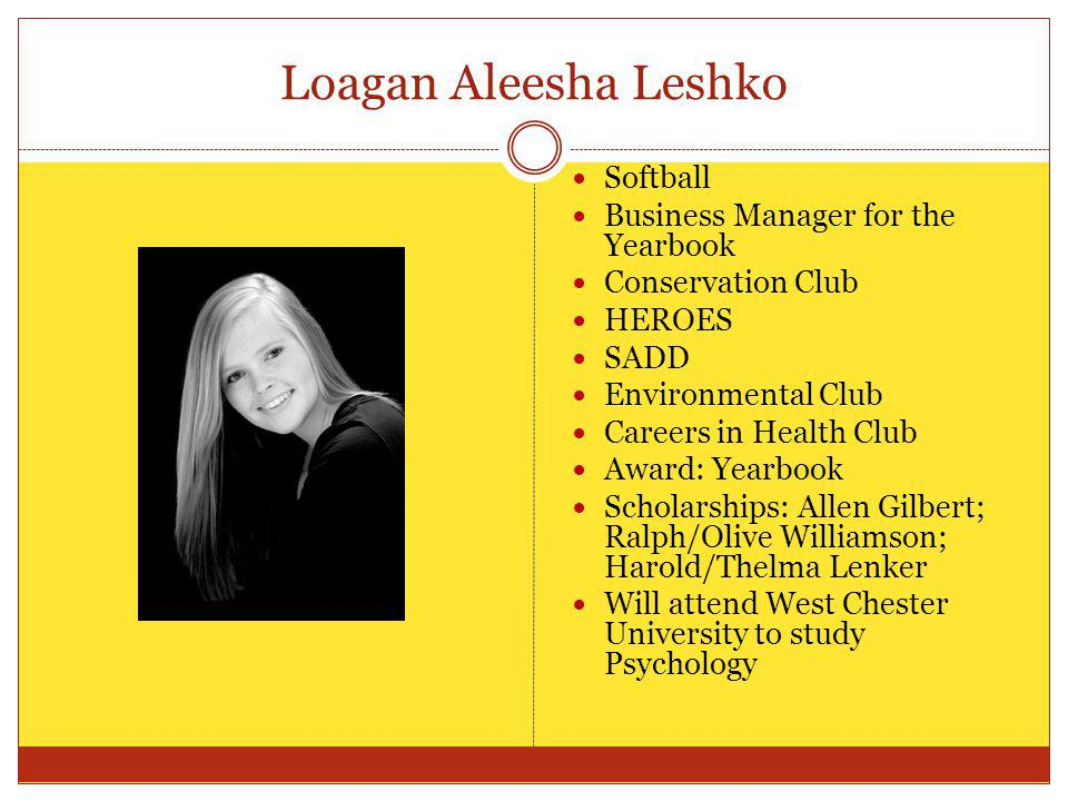 Loagan Aleesha Leshko Softball Business Manager for the Yearbook