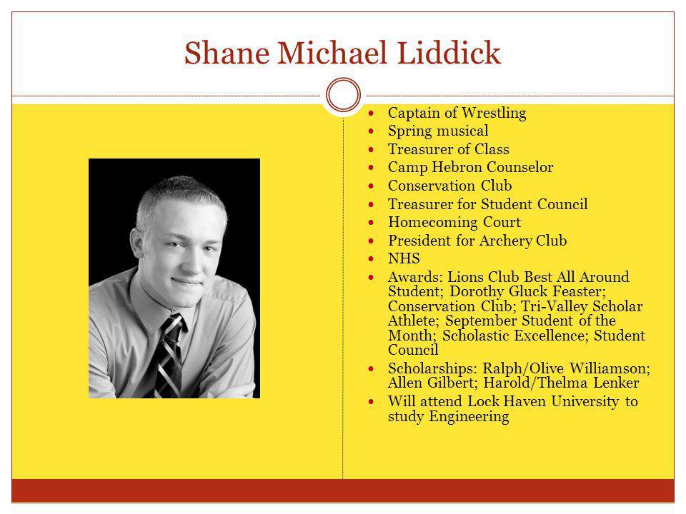 Shane Michael Liddick Captain of Wrestling Spring musical