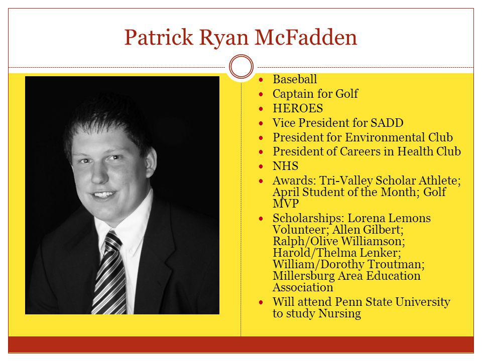 Patrick Ryan McFadden Baseball Captain for Golf HEROES