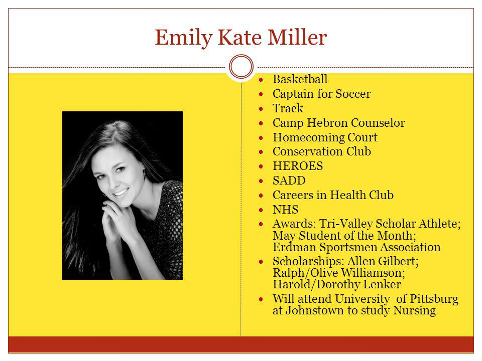 Emily Kate Miller Basketball Captain for Soccer Track