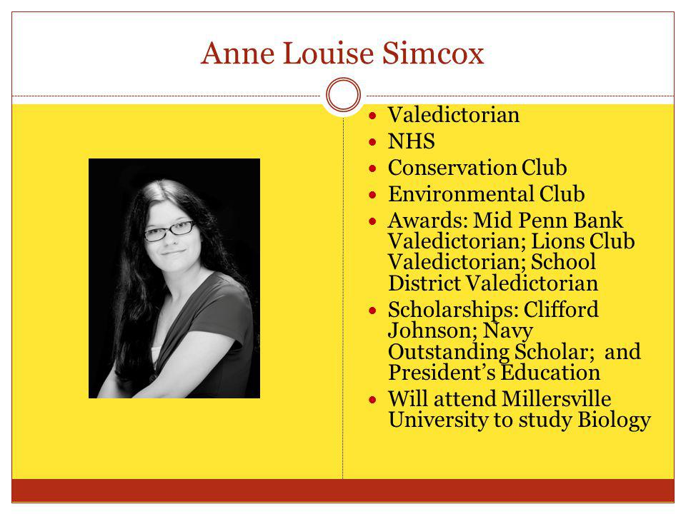Anne Louise Simcox Valedictorian NHS Conservation Club