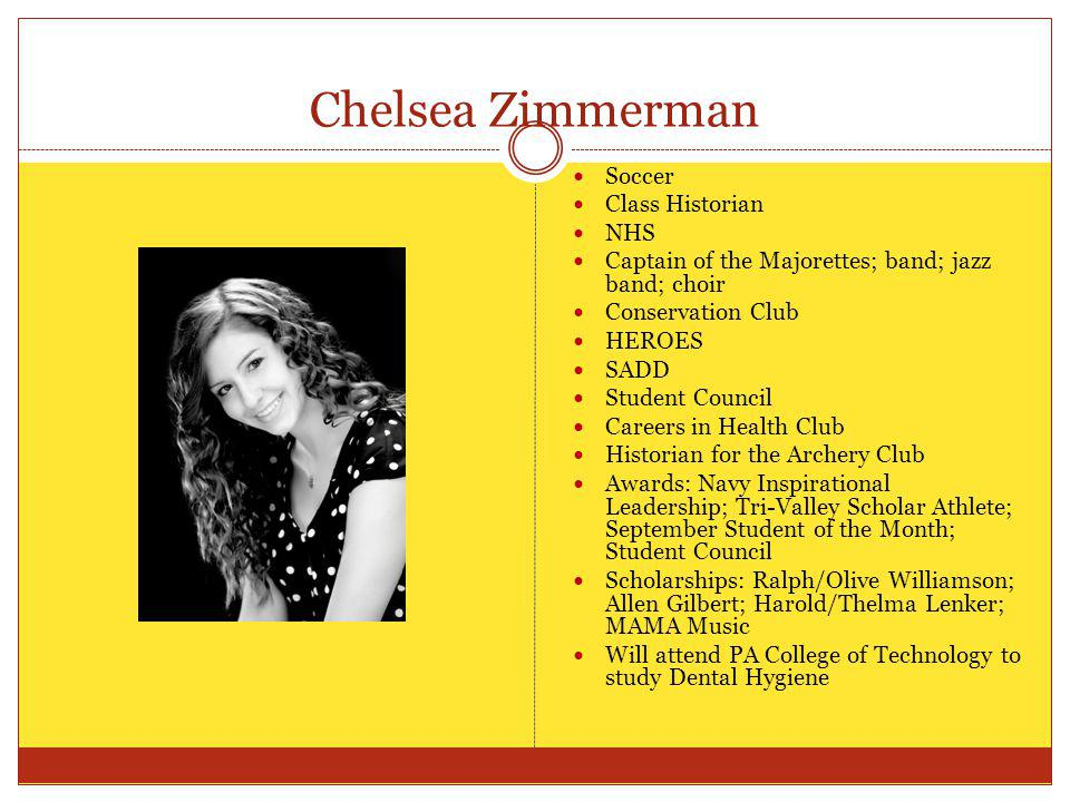 Chelsea Zimmerman Soccer Class Historian NHS