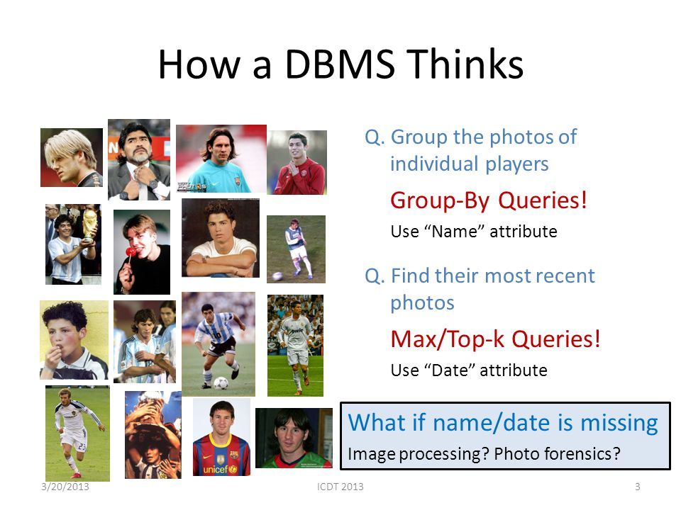 How a DBMS Thinks Max/Top-k Queries! What if name/date is missing