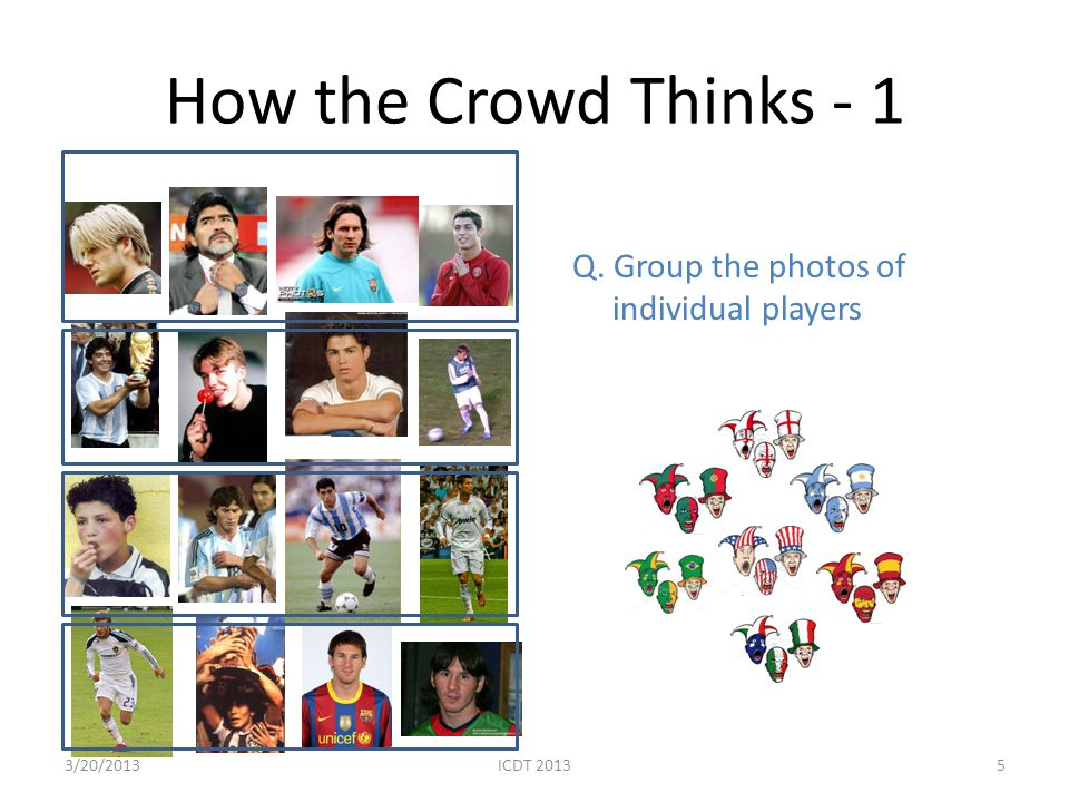 How the Crowd Thinks - 1 Q. Group the photos of individual players