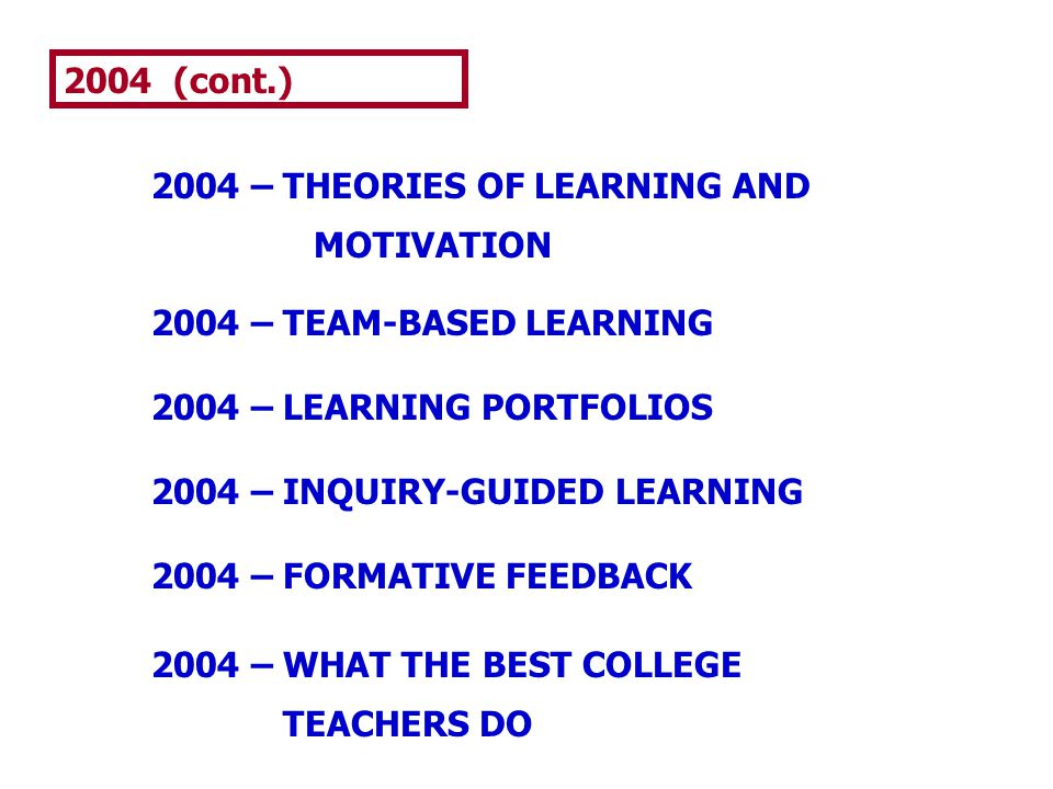2004 (cont.) 2004 – THEORIES OF LEARNING AND. MOTIVATION. 2004 – TEAM-BASED LEARNING. 2004 – LEARNING PORTFOLIOS.
