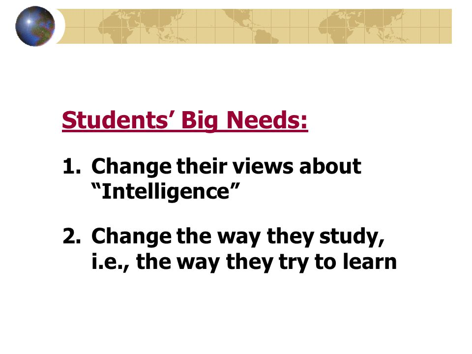 Students' Big Needs: Change their views about Intelligence