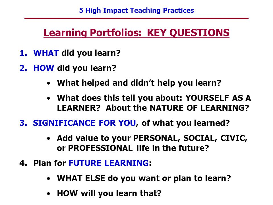 Learning Portfolios: KEY QUESTIONS