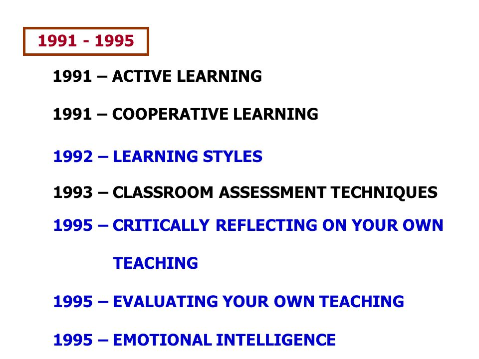 1991 - 1995 1991 – ACTIVE LEARNING. 1991 – COOPERATIVE LEARNING. 1992 – LEARNING STYLES. 1993 – CLASSROOM ASSESSMENT TECHNIQUES.