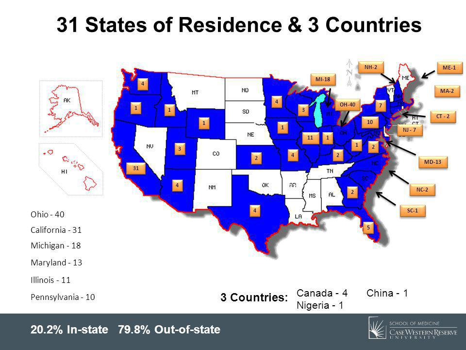 31 States of Residence & 3 Countries