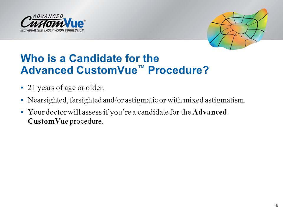 Who is a Candidate for the Advanced CustomVue™ Procedure