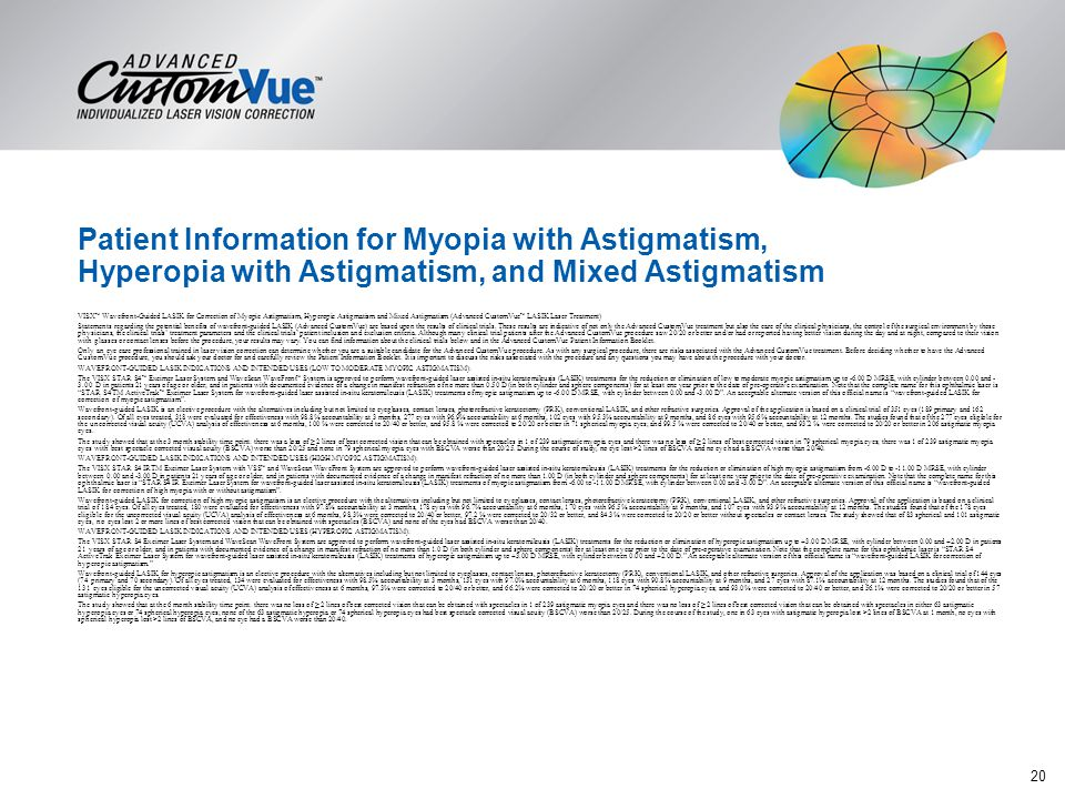 Patient Information for Myopia with Astigmatism, Hyperopia with Astigmatism, and Mixed Astigmatism